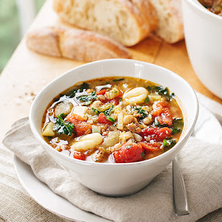 Italian Vegetable Soup with Spicy Italian Sausage and Gnocchi.