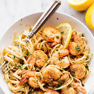 Lemon Garlic Shrimp Scampi.