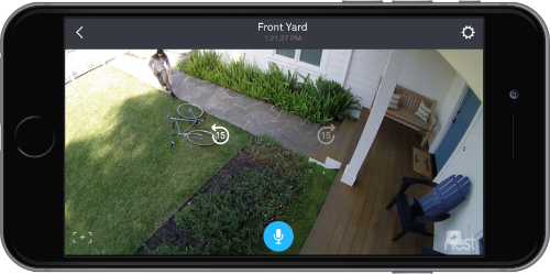 Nest app showing video feed in landscape