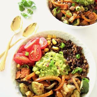 Southwest Veggie Burrito Bowls with Quinoa & Guacamole.