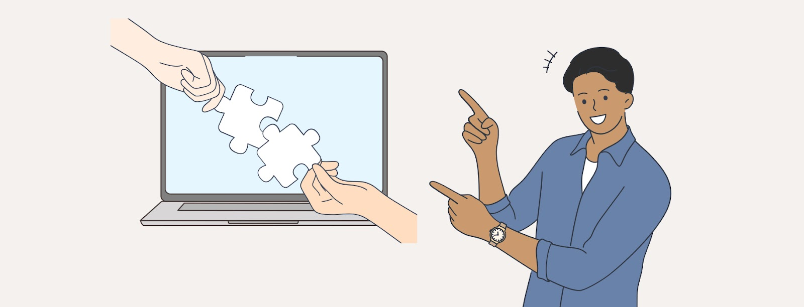 Illustration of hands putting jigsaw pieces together on a computer screen