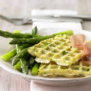 Glazed Asparagus with Potato Waffles.