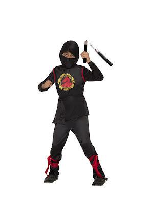 Ninja svart/röd barn