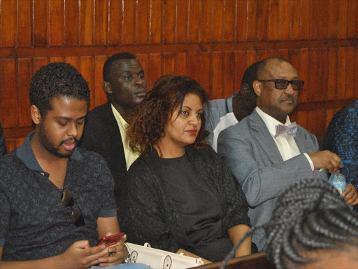 The late Jimmy Baburam's step mother Yadit Tesfay Baburam with her son Orneil Baburam follow proceedings of the murder case at the Mombasa High court on September 24, 2018. /ALPHONCE GARI