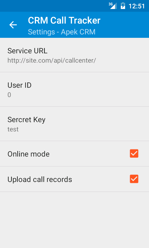 CRM Call tracker- screenshot