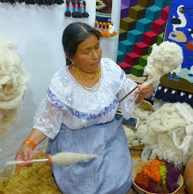 Photo: Left hand shapes the thread, right hand twists the spindle
