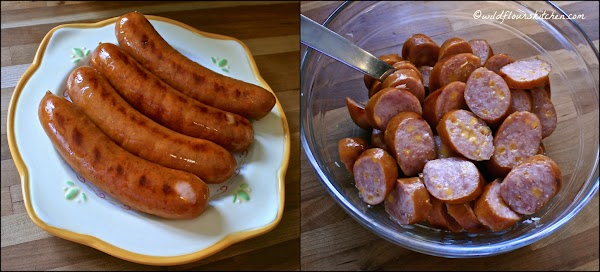 Grill (or cook) sausages according to package directions. (I like to grill them over...
