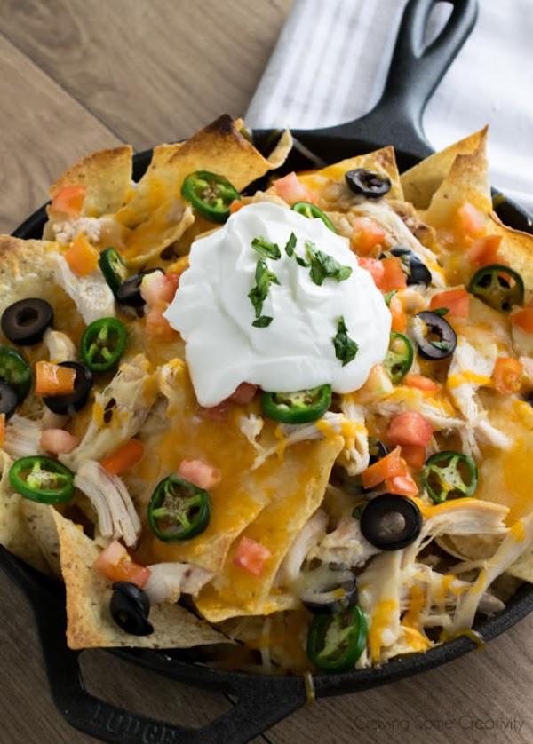 Serve with sour cream, salsa, and guacamole.