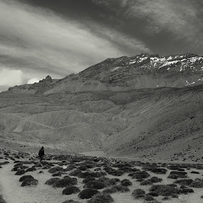 The man... & the MOUNTAIN !! by Sabyasachi Chatterjee - Landscapes Mountains & Hills ( spiti, himachal, black and white, b and w, landscape, b&w, monotone, mono-tone )