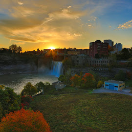Genesee High Falls Oct. 2017 #1 by Cal Brown - Landscapes Waterscapes ( waterscape, waterfall, sunrise, new york, genesee, landscape, river )