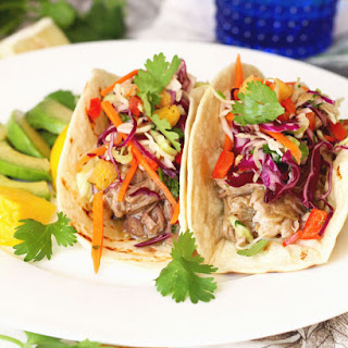 "Smoky Pulled Pork ""Chile Verde Style"" Tacos with Pineapple Cole Slaw"