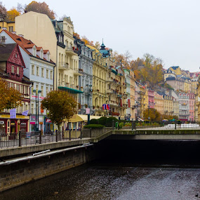 Karlovy Vary #1 by Andrey Dayen - City,  Street & Park  Historic Districts ( autumn, street, czech, town, view, landscape, city, river,  )