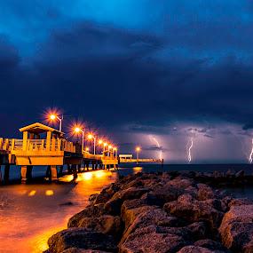 Summer Lightining by Ken Wagner - Landscapes Weather ( lightning, nature, florida, weather, ft desoto, long ex.nikon )