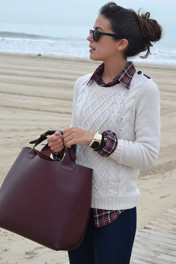 Casual fall look with white knitted sweater, plaid shirt and jeans for Deep Winter women