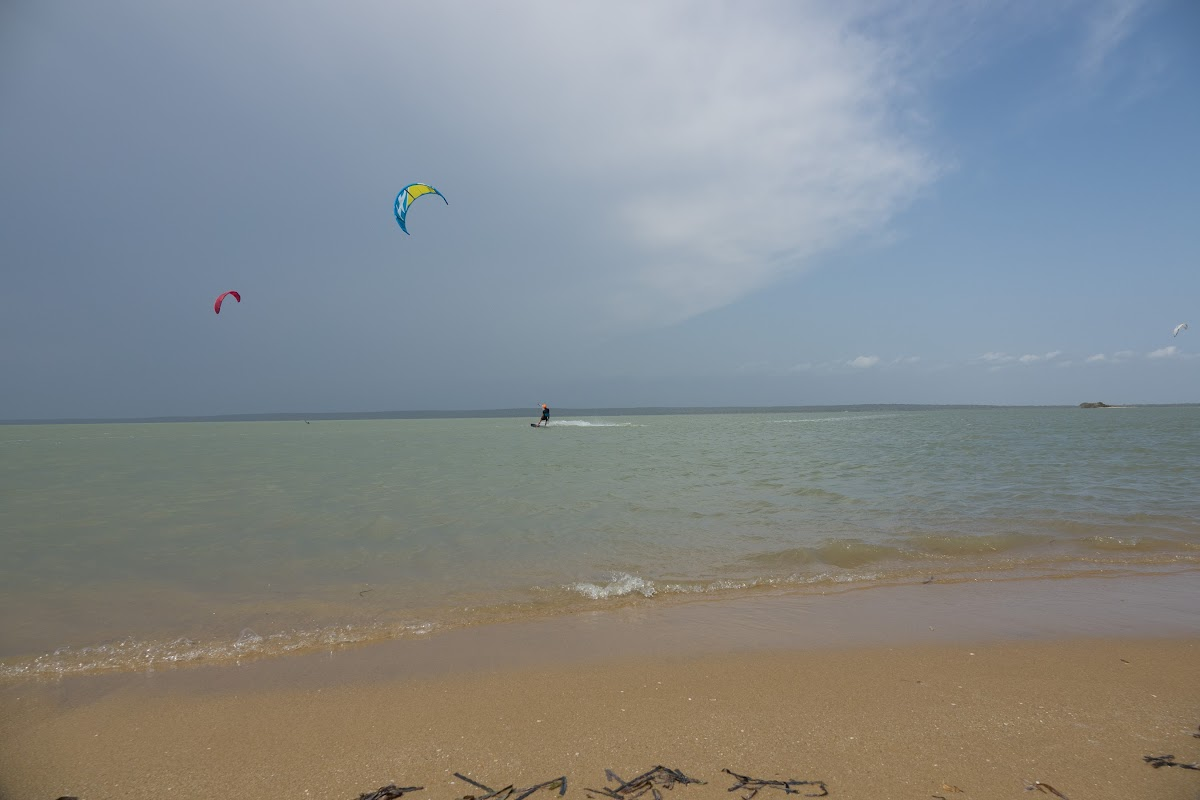 Sri. Lanka Kalpitiya Kiteboarding. Ippantivu Island on a stormy afternoon