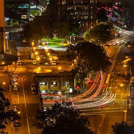 City Street by Daniel Wheeler - City,  Street & Park  Street Scenes ( lights, australia, long exposure, night, sydney )