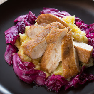 Alsatian Spiced Chicken with Smashed Potatoes & Glazed Red Cabbage.