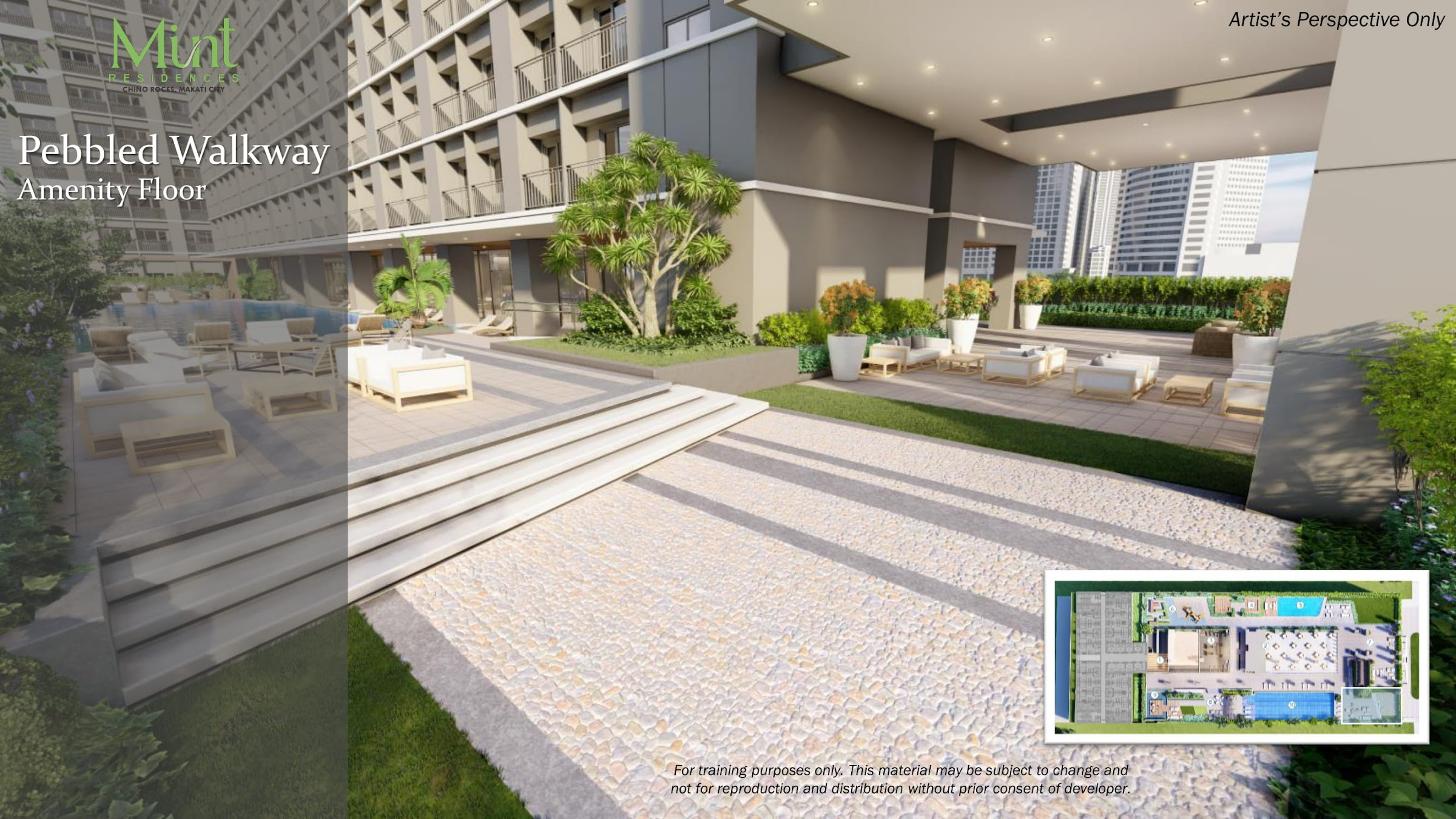Mint Residences, Chino Roces Makati pebbled walkway