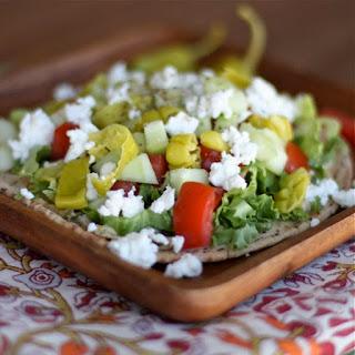 Greek Salad & Hummus Pita Pizza
