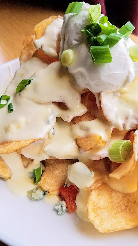 Circa 33 Blue Cheese Nachos with smoked blue cheese potato chips and optional add-ons (not here) of meat like bacon or chicken