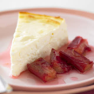 Baked Ricotta with Poached Rhubarb.