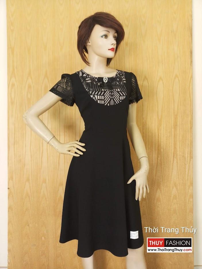 Váy xòe phối ren mặc công sở V629 thời trang thủy hải phòng