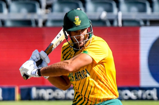 Aiden Markram of South Africa during the 2nd KFC T20 Internationalagainst Pakistan at the Wanderers Stadium on April 12, 2021 in Johannesburg