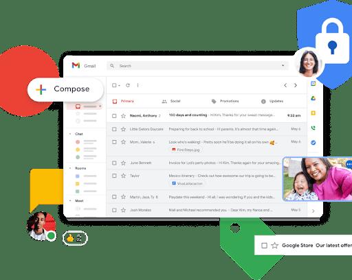 Zaslon Gmailove pristigle pošte s povećanim ikonama za funkcije