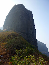 Photo: Bhatoba Pinnacle with the offwidth route clearly visible from our camp.