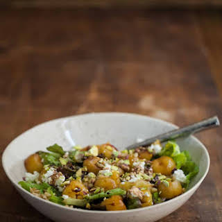Roasted Cherry, Barley, and Goat Cheese Salad.