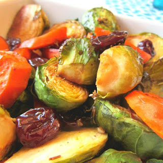 Roasted Brussel Sprouts and Carrots with Dried Cherries.