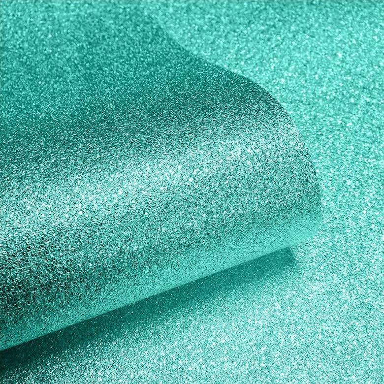 Sparkle Glitter Tapet Turkos 701355