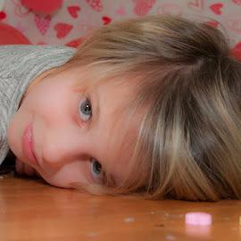 Sweet Look by Chris Cavallo - Babies & Children Child Portraits ( girl, heart, maine, candy, pink, balloon, portrait, valentine's red,  )