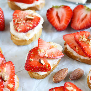 Strawberry, Almond, and Whipped Honey Goat Cheese Crostini.