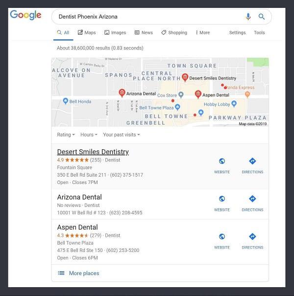 "Google search-""Dentist Phoenix, Arizona"""