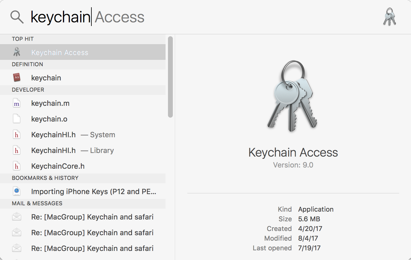 using spotlight to search for the keychain access app