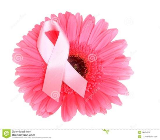 Cinta de la conciencia del cáncer de pecho en la flor