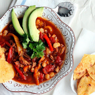 Chili Rubbed-Pollo Soup with Bell Pepper + Hominy
