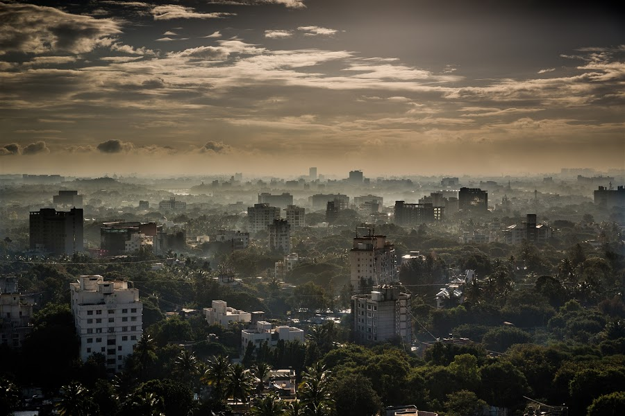 Pune City Sunrise by Kevin Standage - City,  Street & Park  Skylines ( canon, india, landscape, pune, city )
