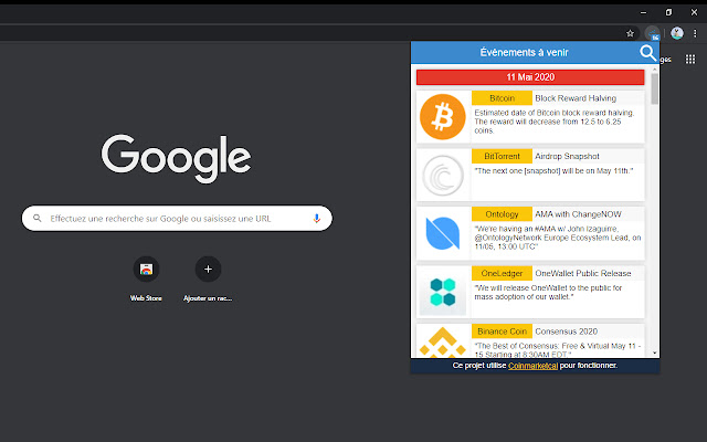 CoinMarketCal - Browser Addon