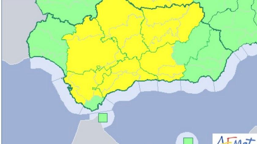 Mapa de Andalucía para este viernes según la Agencia Estatal de Meteorología.