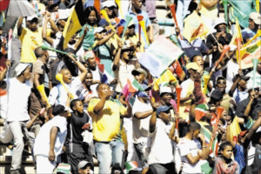 Bafana bafana supporters ahead of the International friendly between South Africa and Madagascar in Kimberly. Pic: SIMPHIWE NKWALI. 19/09/2009. © SOWETAN