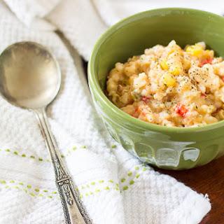 Creamy Cheesy Chicken & Rice Soup.