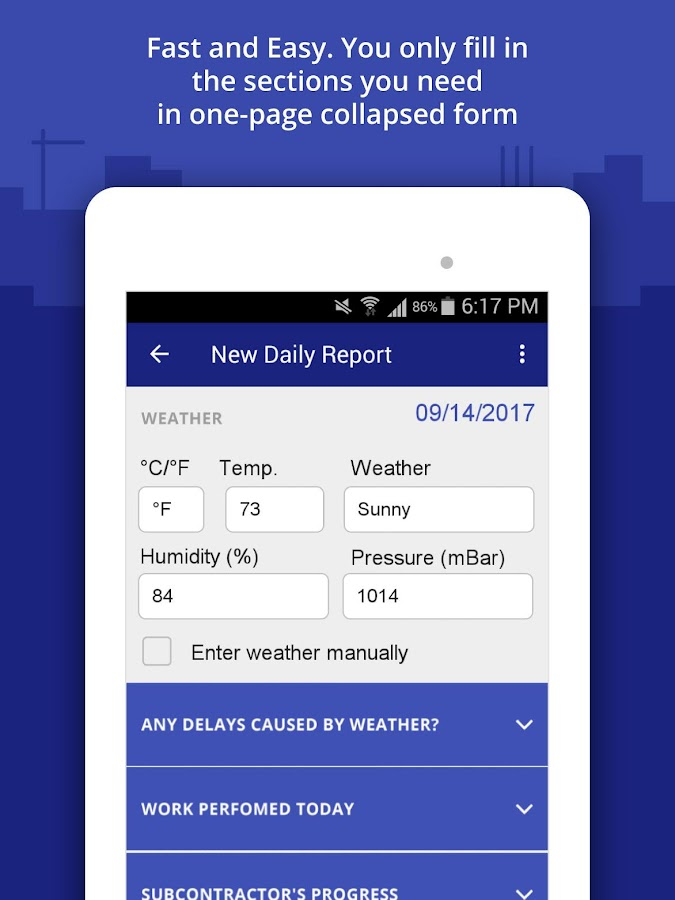 Construction Daily Log App- screenshot