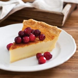 Buttermilk Pie with Glazed Cranberries