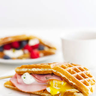 Sweet and Savory Waffle Breakfast Sandwiches.