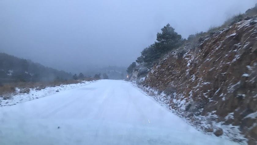 Imagen publicada por la Diputación Provincial de Almería del estado de algunas carreteras de la provincia.