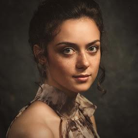 Valery by Dmitry Baev - People Portraits of Women ( studio, girl, woman, beautiful, green eyes, freckles, portrait )