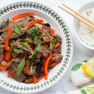 Stir Fried Beef With Red Bell Peppers And Basil.