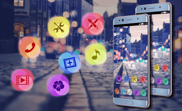 Stylish Romantic Theme: Neon Night Street Launcher APK screenshot thumbnail 5